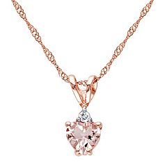 10k Rose Gold Morganite & Diamond Accent Heart Pendant