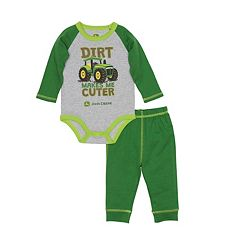 Baby Boy John Deere 'Dirt Makes Me Cuter' Raglan Bodysuit & Pants Set