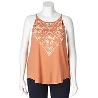 Juniors' Plus Size Mudd® Tie-Dye High Neck Tank