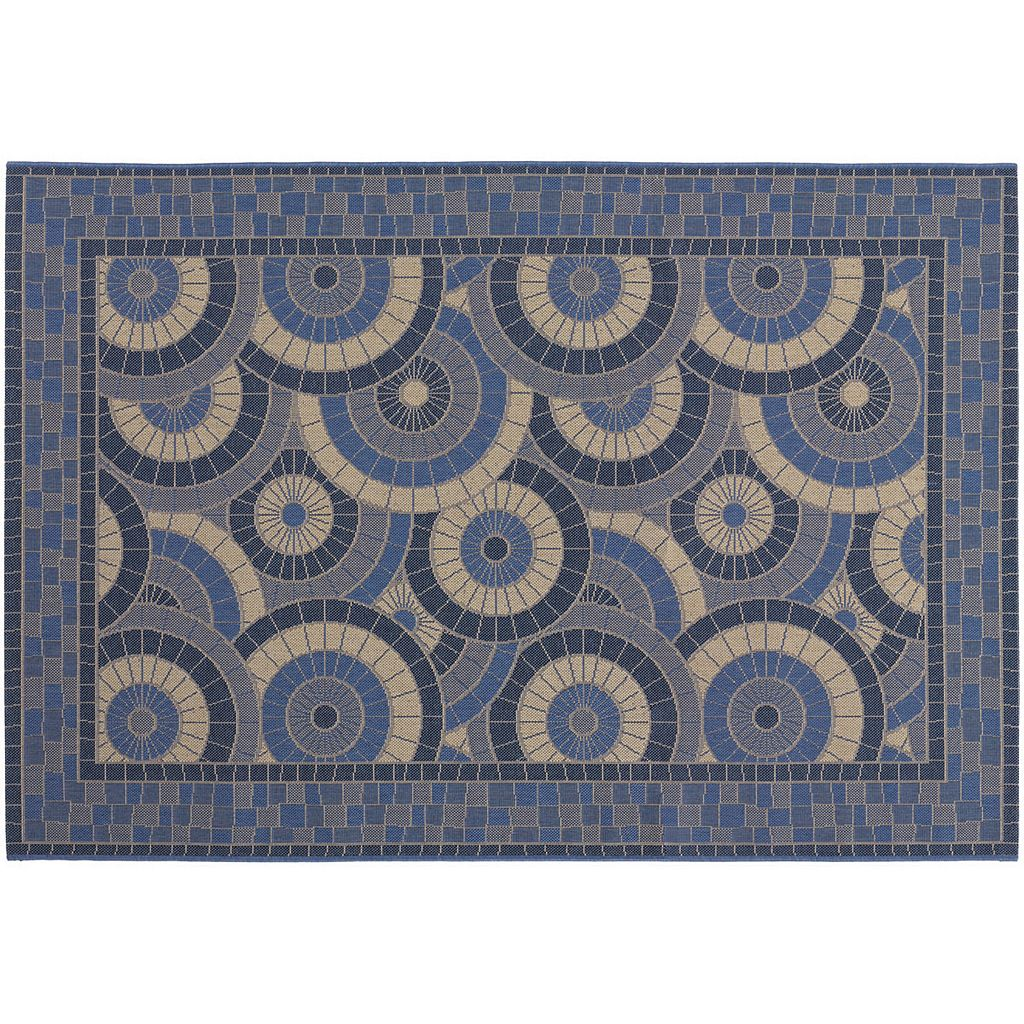 Couristan Five Seasons Sundial Framed Geometric Indoor Outdoor Rug