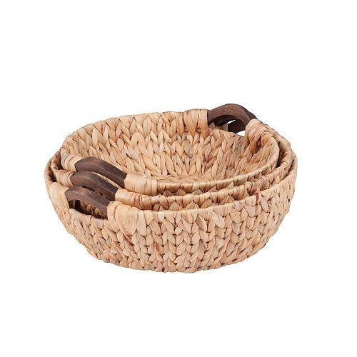Honey-Can-Do 3-piece Round Woven Nesting Basket Set