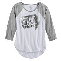 Girls 7-16 & Plus Size SO® High-Low Shine Baseball Tee