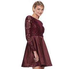 Juniors' My Michelle Lace Skater Dress