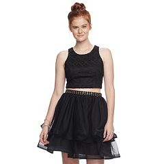 Juniors' My Michelle Tiered Skirt & Lace Top 2-Piece Dress
