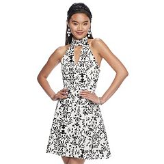 Juniors' My Michelle Print Scuba Fit & Flare Dress