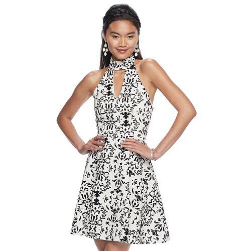 Juniors' My Michelle Print Scuba Fit & Flare Dress