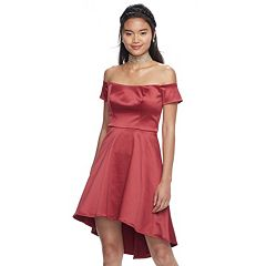 Juniors' My Michelle Off-The-Shoulder Sateen Dress