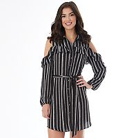 Juniors' IZ Byer Striped Cold-Shoulder Shirt Dress