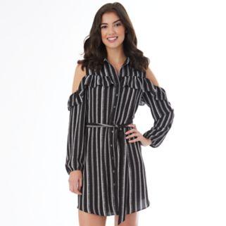 Juniors' IZ Byer California Striped Cold-Shoulder Shirt Dress