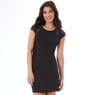 Juniors' IZ Byer Lace Trim Bodycon Dress