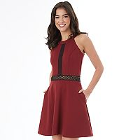 Juniors' IZ Byer California Mesh Detail Ponte Fit & Flare Dress