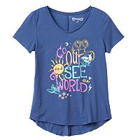 Girls 7-16 & Plus Size Mudd® Burnout Seamed Back High-Low Hem Graphic Tee