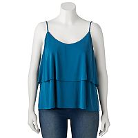 Juniors' Plus Size Mudd® Tiered Flutter Tank
