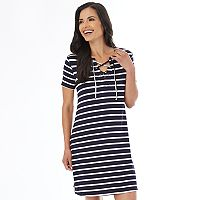 Women's AB Studio Lace-Up T-Shirt Dress