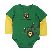 Baby Boy John Deere Logo Tractor Mock-Layer Bodysuit