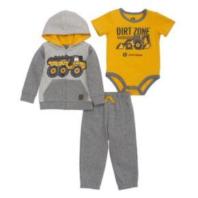 """Baby Boy John Deere Dump Truck """"Dirt Zone"""" Zip Hoodie, Bodysuit & Pants Set"""