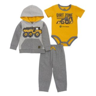 "Baby Boy John Deere Dump Truck ""Dirt Zone"" Zip Hoodie, Bodysuit & Pants Set"