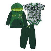 Baby Boy John Deere Tractor Zip Hoodie, Bodysuit & Pants Set