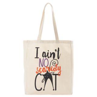 """Tri-Coastal Design """"I Ain't No Scaredy Cat"""" Canvas Tote"""