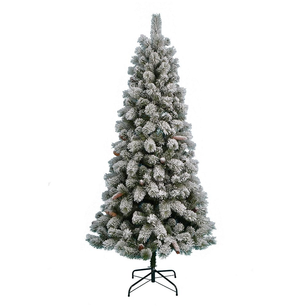 Nicholas Square® 7 Ft Pre Lit Flocked Artificial Christmas Tree - 7 Ft Artificial Christmas Trees