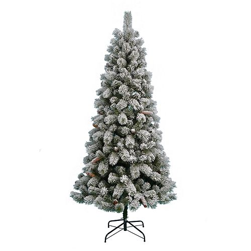 st nicholas square 7 ft pre lit flocked artificial christmas tree