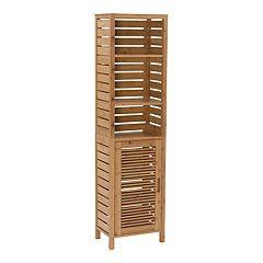 Linon Bracken Tall Bamboo Storage Cabinet