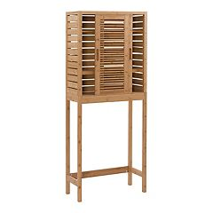 Linon Bracken Space Saver Bamboo Storage Cabinet