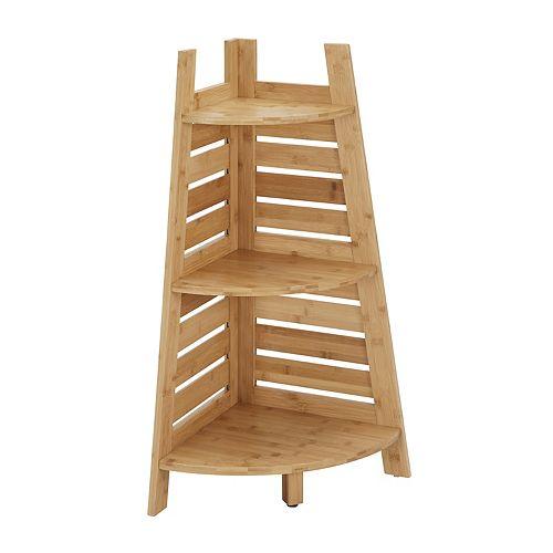Linon Bracken Bamboo Corner Shelf