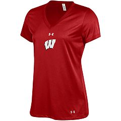 Women's Under Armour Wisconsin Badgers Tech V-Neck Tee