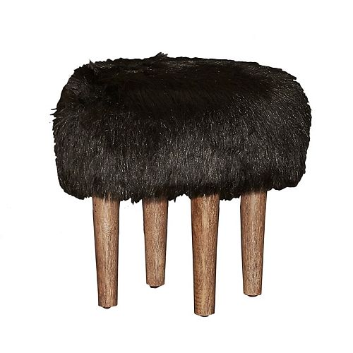 Linon Samarina 16-in. Faux-Fur Stool