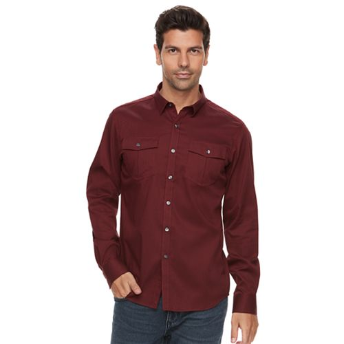 Men's Marc Anthony Slim-Fit Texture-Striped Military Button-Down Shirt