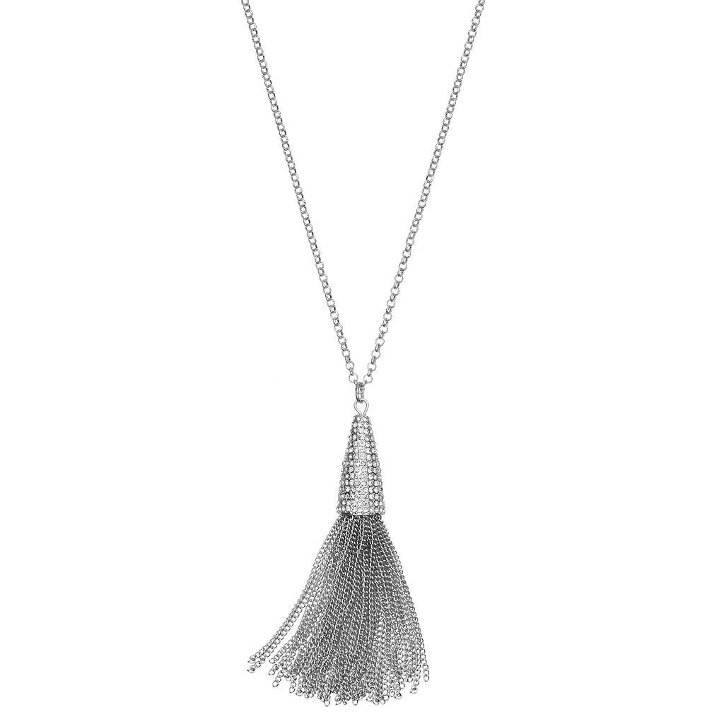 Jennifer Lopez Long Pave Tassel Pendant Necklace