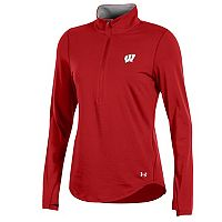 Women's Under Armour Wisconsin Badgers Charged Cotton Quarter-Zip Top