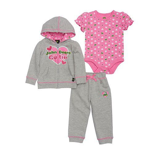 Baby Girl John Deere Heart Bodysuit, Hooded Jacket & Pants Set
