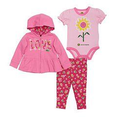 Baby Girl John Deere Graphic Bodysuit, Hooded Jacket & Floral Pant Set