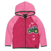 Toddler Girl John Deere Embroidered Tractor Microfleece Hoodie