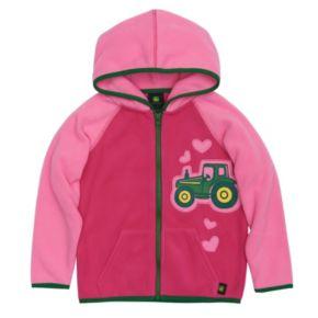 Toddler Girl John Deere Embroidered Tractor Microfleece Hoodie