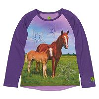 Girls 4-6x John Deere Two Horses Raglan Tee