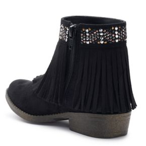 SO® Raquel Girls' Fringe Ankle Boots