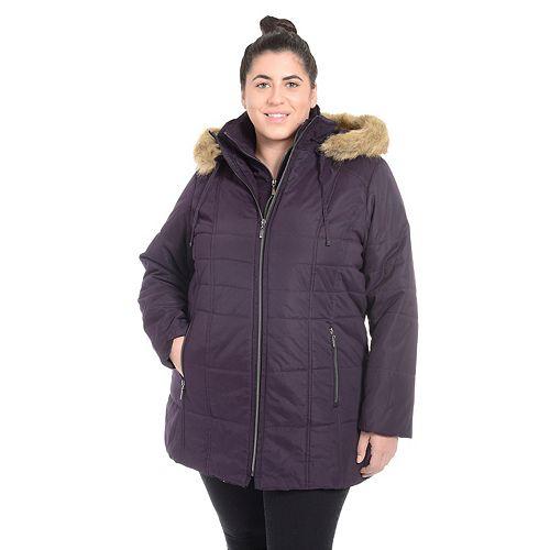 Plus Size Fleet Street Faux-Fur Hooded Jacket