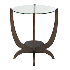 Madison Park Round Glass Top End Table