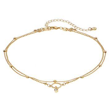 LC Lauren Conrad Ball Chain Double Strand Choker Necklace