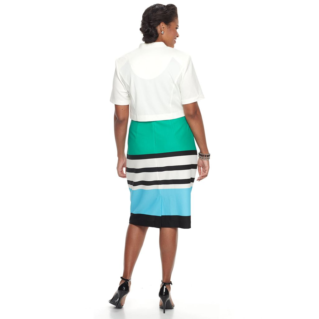 Plus Size Maya Brooke Colorblock Sheath Dress & Solid Jacket Set