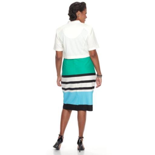 Plus Size Maya Brooke Colorblock Sheath Dress & Solid Jacket Set