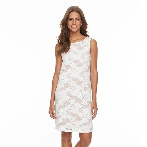 Women's Tiana B Contrast Lace Shift Dress