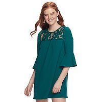 Juniors' Speechless Lace Bell Sleeve Shift Dress