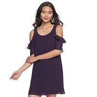 Juniors' Speechless Cold Shoulder Shift Dress