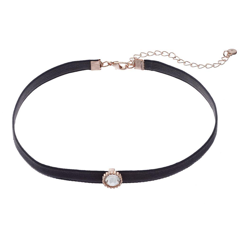 LC Lauren Conrad Round Stone Velvet Choker Necklace