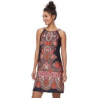Women's Perceptions Scroll Print Shift Dress