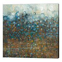 Metaverse Art Blue and Bronze Tone Dots Canvas Wall Art
